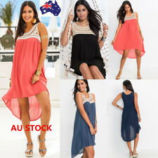 Women Loose Casual Sleeveless Dress Ladies Lace Swing Mini Dress  Beach Sundress