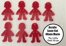 40mm Mario Red Coloured Acrylic Laser Cut Flatback Cabochon Embellishment Craft