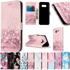 Luxury Leather Marble Folio Flip Wallet Stand Case For Samsung Galaxy S6 S7 S8