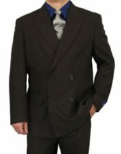 Sharp 2pc Double Breasted Men Dress Suit Chocolate 50R-62L tb06