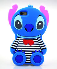 New Disney Blue Stripe Stitch Soft Silicone Back Case Cover For iPhone/Samsung