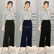 Women Pull On Pleated Wide Leg Solid Casual Loose Capri Pants Trousers LM