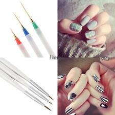 Nail Art Design DIY Acrylic Drawing Painting Striping UV Gel Pen Brush Set 3pcs