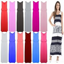 Ladies Printed Bubble Toga Racer Muscle Back Jersey Vest Women Long Maxi Dress