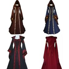 Women's Medieval Dress Vintage Victorian Renaissance Gothic Costume Hooded Dress