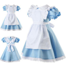 Alice in Wonderland Girl Kid Fancy Dress Maid Lolita Costume Cosplay Outfits Set