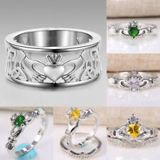925 Silver Irish Claddagh Celtic Heart Forever Wedding Engagement Ring Size 6-10