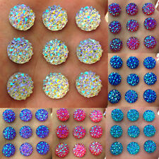 DIY 40Pcs 12mm Round AB Resin Flatback Rhinestones for Wedding Crafts Peachy