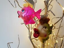 GISELA GRAHAM PAINTED GLASS JEWELLED FISH WITH HAIR CHRISTMAS DECORATION 2 DESIG