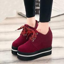 Women's High Platform Flat Creeper Round Toe Lace Up lady platform shoes