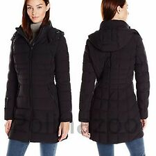 Calvin Klein Winter PUFFY coat STRETCH Black JACKET Hooded 90% Duck Down NEW