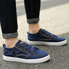 Fashion Breathable Canvas Lace Up Mens Casual Walking Flats Sofe Sole Shoes New