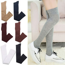 Lady Women Girls Over The Knee Cotton Plain Long Socks Solid Thigh High Stocking