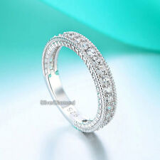 925 Sterling Silver Vintage Style Art Deco Eternity Wedding Engagement Band
