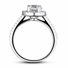 Fine 925 Sterling Silver Wedding Engagement Halo Ring Simulated Diamond