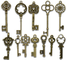 Wholesale Lots Mixed Bronze Tone Key Charm Pendants 33x13mm-69x20mm
