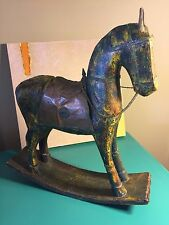 Vintage wooden Rocking Horse/ Solid Wood Rocking Horse with Copper Saddle