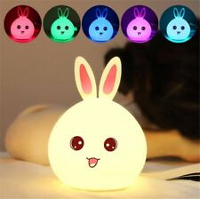 Cute Silicone Rabbit LED Night Light Creative USB Recharge Lamp 7 Color Changing
