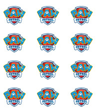12 x Paw Patrol Logo Edible Stand Up Edible Wafer Cupcake Cake Toppers