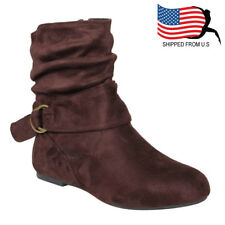 Christmas Gift Women's Buckle Slouchy Flat Ankle Booties Half Size Small Brown
