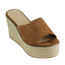 Contemporary Women's Slip On Peep Toe Espadrille Platform Wedge Sandals Camel