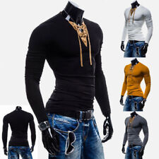 Sexy Mens Tee Tops Muscle Long Sleeve lace-up T-shirt New Slim Fit V-Neck Y1064