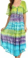 Sakkas Sula Long Laced Cotton Tie-Dye Wide Neck Embroidered Boho Sundress Cover