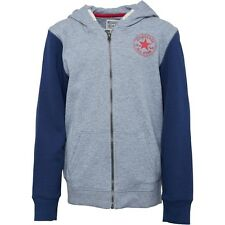 BOYS CONVERSE ZIP UP HOODED TOP WITH CONVERSE LOGO ON BACK 964507 - GREY & BLUE