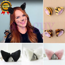 Anime Cat Fox Long Fur Ears Cosplay Costum Black White And Pink Tiger Halloween