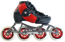 ATOM SKATES - LUIGINO KID'S RED CHALLENGE - 4 WHEEL INLINE SPEED SKATE PACKAGE