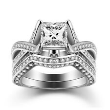 Caperci 925 Sterling Silver Princess Cut White CZ Solitaire Engagement Ring Sets