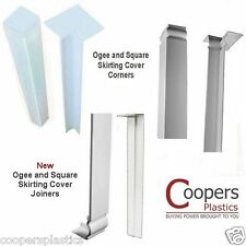 uPVC Plastic Skirting Cover Corners (Int & Ext) & Joiners - White Square or Ogee