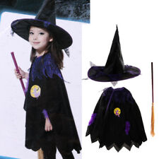1 Set Halloween Kid Spider Web Witch Cape Hat Broom Costume Cloak Fancy Dress Up