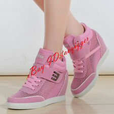 Women Hidden Heels Wedge Lace Up Athletic Sneaker Sport Shoes Hollow Out Trainer
