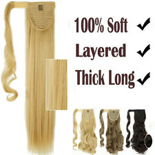 "Wrap On Around 17""-26"" Long Ponytail Curly Straight Clip in Hair Extensions H22d"