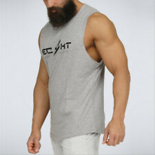 Mens Gym Tank Top Bodybuilding cotton Sleeveless Fitness Vest Muscle  undershirt