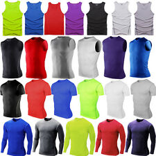 Mens Compression Under Base Layer Gym Sport Fitness Tight Tank Vest T-Shirt Tops