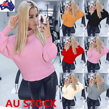 AU Women Turtleneck Knit Sweater Shirt Pullover Lantern Sleeve Jumper Loose Tops