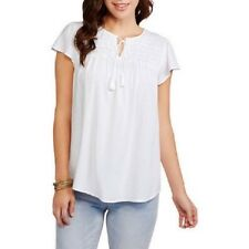 Faded Glory Women's Challis Smocked Woven Peasant Blouse