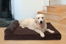 Faux Fleece & Corduroy Chaise Lounge Cooling Gel Top Sofa-Style Pet Bed