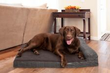 Quilted Fleece & Print Suede Chaise Lounge Cooling Gel Top Sofa-Style Pet Bed