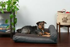 Quilted Fleece & Print Suede Chaise Lounge Pillow Sofa-Style Pet Bed