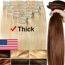 Thick Double Weft Clip In Real Remy Human Hair Extensions Full Head Wedding F328