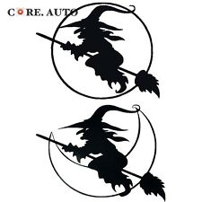 2pc Black/ Red Witch Broom Decal Car Boot Sticker For Halloween Decoration