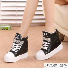 Women's Fashion Lace Up High Top Rhinestone Ankle Wedge Heels Sneaker Boot Shoes