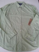 New DKNY Mens Dress/Casual Shirt Sz L or XL ButtonUp Collar Light Green Cotton