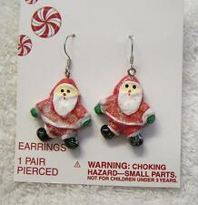 CLASSIC PIERCED EARRINGS SANTA CLAUS KRIS KRINGLE SAINT NICHOLAS JOLLY FAT VL-B3