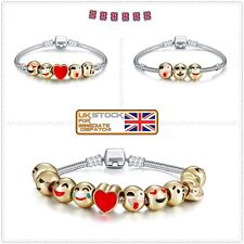 18ct Gold Emoji Charm Bracelet 10 Bead Gold Plated GREAT IDEAL GIFT For Her Him