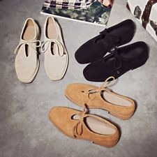 Womens Square Toe Lace Up Low Block Heels Fashion Oxfords Flats Suede Shoes