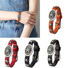 Women Men Faux Leather Carving Stars Charms Adjustable Pin Buckle Bracelet